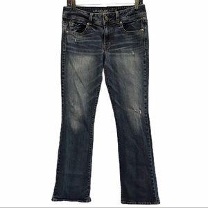 American Eagle kick boot stretch jeans distress 8